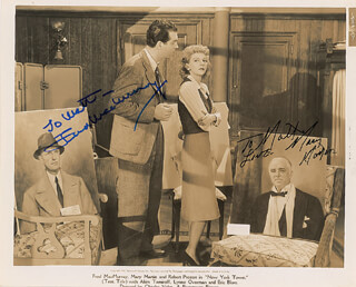 NEW YORK TOWN MOVIE CAST - PRINTED PHOTOGRAPH SIGNED IN INK CO-SIGNED BY: MARY MARTIN, FRED MacMURRAY