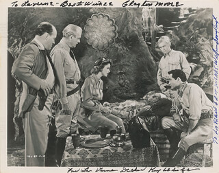 PERILS OF NYOKA MOVIE CAST - AUTOGRAPHED INSCRIBED PHOTOGRAPH CO-SIGNED BY: KATHARINE KAY ALDRIDGE, CLAYTON THE LONE RANGER MOORE, WILLIAM BILLY BENEDICT