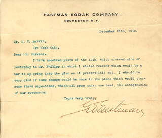 GEORGE EASTMAN - TYPED LETTER SIGNED 12/13/1912