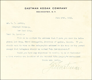 GEORGE EASTMAN - TYPED LETTER SIGNED 06/27/1912