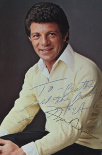 FRANKIE AVALON - AUTOGRAPH NOTE ON PHOTOGRAPH SIGNED TWICE