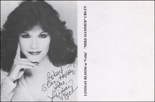 LINDSAY BLOOM - INSCRIBED PRINTED PHOTOGRAPH SIGNED IN INK
