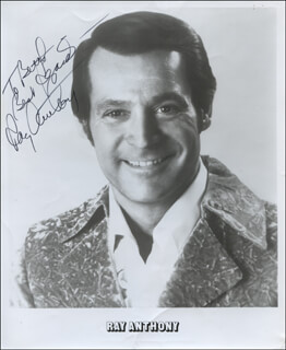 Autographs: RAY ANTHONY - INSCRIBED PRINTED PHOTOGRAPH SIGNED IN INK