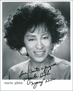 MARLA GIBBS - PRINTED PHOTOGRAPH SIGNED IN INK