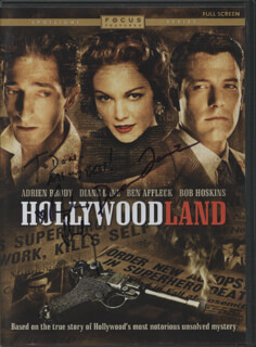 HOLLYWOODLAND MOVIE CAST - DVD/CD COVER SIGNED CO-SIGNED BY: DIANE LANE, ADRIEN BRODY
