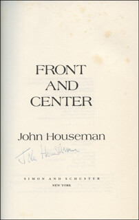 JOHN HOUSEMAN - BOOK SIGNED