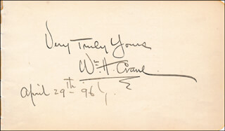 WILLIAM H. CRANE - AUTOGRAPH SENTIMENT SIGNED 04/29/1896