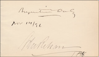 AUGUSTIN DALY - AUTOGRAPH 11/14/1896 CO-SIGNED BY: ADA REHAN