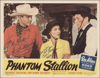 PHANTOM STALLION MOVIE CAST - INSCRIBED LOBBY CARD SIGNED 08/10/1988 CO-SIGNED BY: REX ALLEN, CARLA (SALLY BLISS) BALENDA