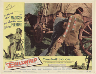 BULLWHIP MOVIE CAST - INSCRIBED LOBBY CARD SIGNED 07/30/1987 CO-SIGNED BY: GUY MADISON, DON BEDDOE