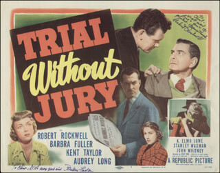TRIAL WITHOUT JURY MOVIE CAST - INSCRIBED LOBBY CARD SIGNED CO-SIGNED BY: BARBRA FULLER, ROBERT ROCKWELL