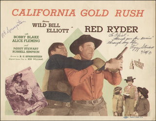 Autographs: CALIFORNIA GOLD RUSH MOVIE CAST - INSCRIBED LOBBY CARD SIGNED 09/28/1981 CO-SIGNED BY: PEGGY STEWART, R.G. SPRINGSTEEN