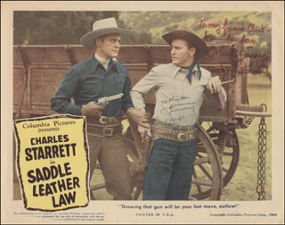 SADDLE LEATHER LAW MOVIE CAST - INSCRIBED LOBBY CARD SIGNED 01/22/1981 CO-SIGNED BY: CHARLES DURANGO STARRETT, JIMMY WAKELY
