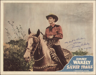 JIMMY WAKELY - INSCRIBED LOBBY CARD SIGNED 06/22/1982