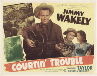 JIMMY WAKELY - INSCRIBED LOBBY CARD SIGNED