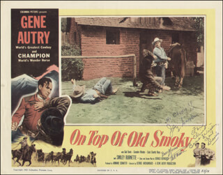 ON TOP OF OLD SMOKY MOVIE CAST - INSCRIBED LOBBY CARD SIGNED CO-SIGNED BY: GAIL DAVIS, FRED S. MARTIN, JACK GARGAN