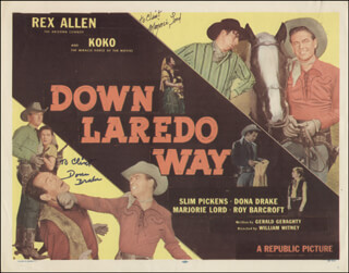 DOWN LAREDO WAY MOVIE CAST - INSCRIBED LOBBY CARD SIGNED CO-SIGNED BY: MARJORIE LORD, DONA DRAKE