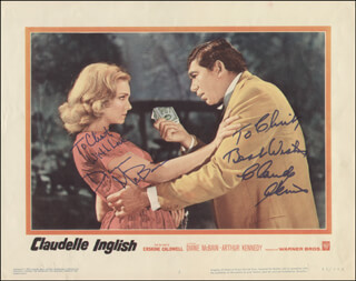 Autographs: CLAUDELLE INGLISH MOVIE CAST - INSCRIBED LOBBY CARD SIGNED CO-SIGNED BY: DIANE McBAIN, CLAUDE AKINS