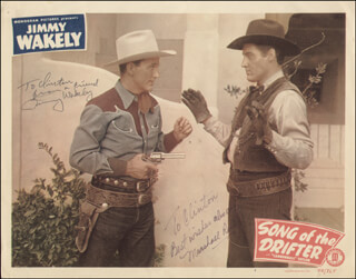 SONG OF THE DRIFTER MOVIE CAST - INSCRIBED LOBBY CARD SIGNED CO-SIGNED BY: MARSHALL REED, JIMMY WAKELY