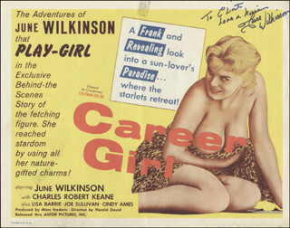 JUNE WILKINSON - INSCRIBED LOBBY CARD SIGNED