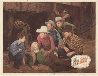 SONG OF ARIZONA MOVIE CAST - INSCRIBED LOBBY CARD SIGNED CO-SIGNED BY: TOMMY COOK, SHUG FISHER, CLARA ESTELLE MRS. BOB NOLAN BROWN