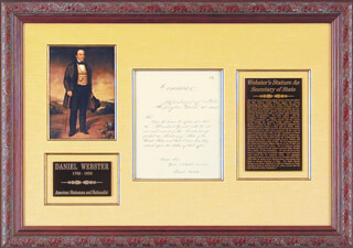 DANIEL WEBSTER - PRINTED LETTER SIGNED IN INK 03/06/1841