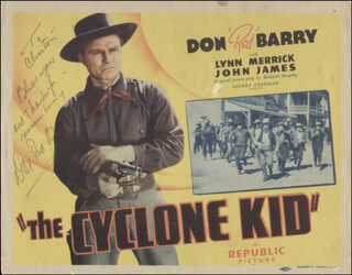 DON RED BARRY - INSCRIBED LOBBY CARD SIGNED