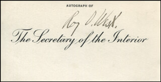 Autographs: ROY O. WEST - PRINTED CARD SIGNED IN INK