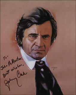 JOHNNY CASH - INSCRIBED ILLUSTRATION SIGNED  - HFSID 323674