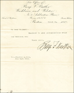 MAJOR GENERAL BENJAMIN F. BUTLER - TYPED LETTER SIGNED 03/19/1888