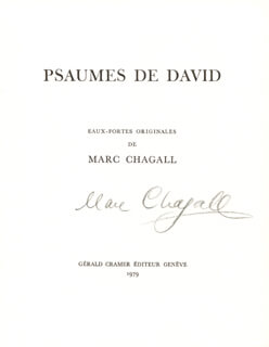 MARC CHAGALL - PAMPHLET SIGNED CIRCA 1979