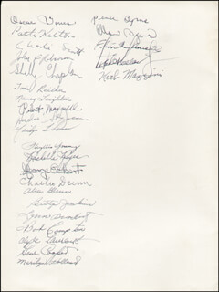 DESTRY RIDES AGAIN PLAY CAST - SHOW BILL SIGNED CO-SIGNED BY: ANNE JEFFREYS, JOHN RAITT, TOM TULLY, GENE COOPER, ETHEL WOODRUFF, ALICE ELIZABETH WEBB, JIMMY WEISS, OSCAR JONES, PATTI KELTON, CHARLES SCOTT, JOHN ROBERSON, SHELLY CHAPLAN, TONI REITHER, NANCY LEIGHTON, ROBERT MAXWELL, ANDRE ST. JOHN, MARILYN THOMAS, PHYLLIS YOUNG, RACHELLE REYES, GEORGE ECKERT, CHARLES DUNN, ALICE GLENN, BETTY JENKINS, LYNNE BROADBENT, BOB COMPTON, CLYDE LAURENTS, MARILYN HOLLAND, RENEE BYRNS, ALLAN BYRNS, FLYNN MCDONNELL, DICK HOLLAND, HERB MAZZINI