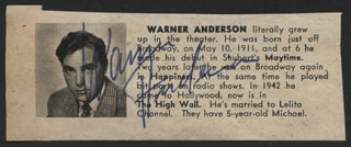WARNER ANDERSON - MAGAZINE PHOTOGRAPH SIGNED