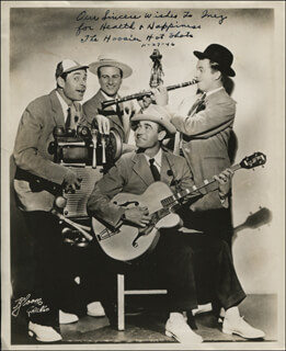 THE HOOSIER HOT SHOTS - AUTOGRAPHED INSCRIBED PHOTOGRAPH 11/27/1946
