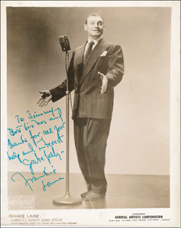 FRANKIE LAINE - INSCRIBED PRINTED PHOTOGRAPH SIGNED IN INK