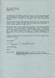 JAYNE MEADOWS - TYPED LETTER SIGNED 09/05/1995
