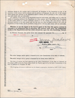 JAYNE MEADOWS - CONTRACT SIGNED 08/27/1952
