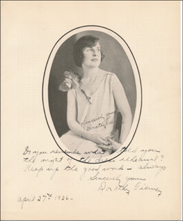 DOROTHY TIERNEY - AUTOGRAPH NOTE ON PHOTOGRAPH SIGNED 04/27/1926