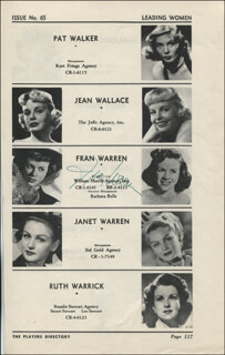 FRAN WARREN - DIRECTORY PHOTO SIGNED