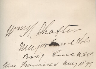 MAJOR GENERAL WILLIAM R. SHAFTER - AUTOGRAPH 05/10/1899