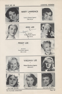 ANNA LEE - DIRECTORY PHOTO SIGNED