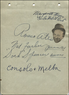 Autographs: ROSCOE ATES - SIGNATURE(S) CO-SIGNED BY: NAT FARBER, CONSOLO & MELBA
