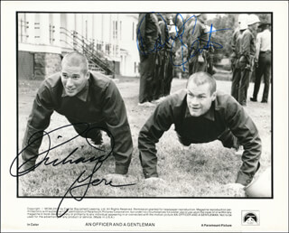AN OFFICER AND A GENTLEMAN MOVIE CAST - PRINTED PHOTOGRAPH SIGNED IN INK CO-SIGNED BY: RICHARD GERE, DAVID KEITH