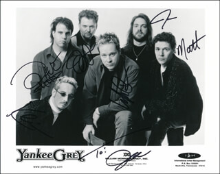 YANKEE GREY - PRINTED PHOTOGRAPH SIGNED IN INK CO-SIGNED BY: YANKEE GREY (DAVID BUCHANAN), YANKEE GREY (MATTHEW BASFORD), YANKEE GREY (JOE CAVERLEE), YANKEE GREY (KEVIN GRIFFIN), YANKEE GREY (JERRY HUGHES), YANKEE GREY (TIM HUNT)