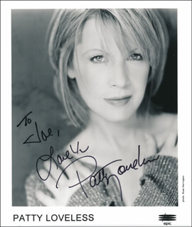 PATTY LOVELESS - INSCRIBED PRINTED PHOTOGRAPH SIGNED IN INK