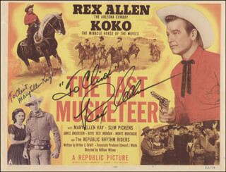 THE LAST MUSKETEER MOVIE CAST - INSCRIBED LOBBY CARD SIGNED CO-SIGNED BY: REX ALLEN, MARY ELLEN KAY