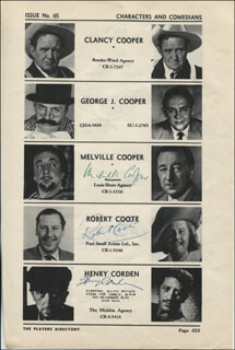 MELVILLE COOPER - DIRECTORY PHOTO SIGNED CO-SIGNED BY: ROBERT COOTE, HENRY CORDEN, WILLIAM COTTRELL