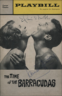 THE TIME OF THE BARRACUDAS - SHOW BILL COVER SIGNED CO-SIGNED BY: ELAINE STRITCH, LAURENCE HARVEY