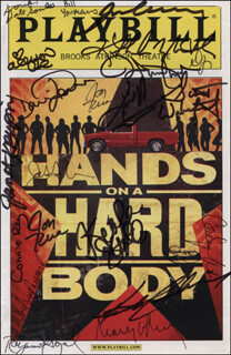HANDS ON A HARD BODY PLAY CAST - SHOW BILL COVER SIGNED CO-SIGNED BY: MARY GORDON MURRAY, WILLIAM YOUMANS, DALE SOULES, ALLISON CASE, DAVID LARSEN, JON RUA, SCOTT WAKEFIELD, JANET KRUPIN, CONNIE RAY, CHELSEA PACKARD, RAYANNE GONZALES, KEALA SETTLE, HAPPY MCPARTLIN, COREY MACH, DAVID JENNINGS, JAY ARMSTRONG JOHNSON, KATHLEEN ELIZABETH MONTELEONE, JIM NEWMAN, HUNTER FOSTER, JACOB MING-TRENT