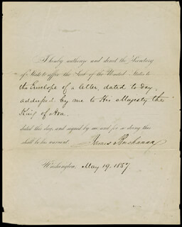 PRESIDENT JAMES BUCHANAN - PRESIDENTIAL WARRANT SIGNED 05/19/1857